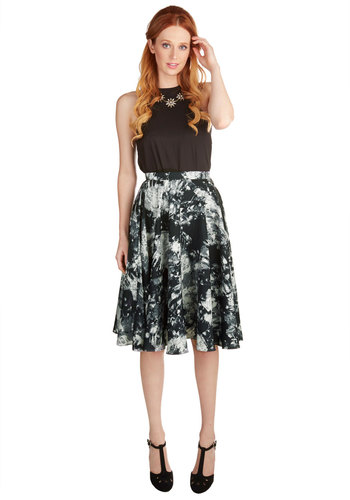 Ikebana for All Skirt in Crystals by Bea & Dot - Woven, Long, Black, Print, Casual, Vintage Inspired, 50s, High Waist, Black, White, Work, A-line, Exclusives, Variation, Private Label, Fall, Press Placement, Top Rated