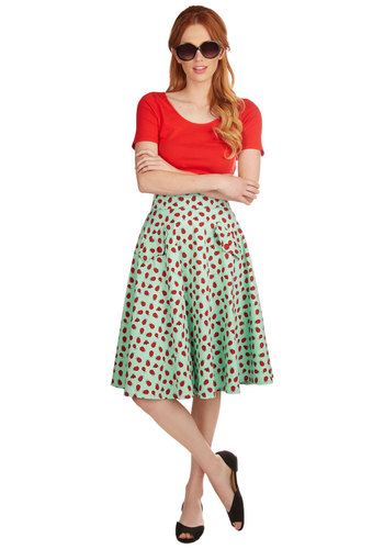 Wing and Dance Skirt - A-line, High Waist, Spring, Summer, Better, Green, Cotton, Woven, Mint, Red, Print with Animals, Novelty Print, Pockets, Vintage Inspired, 50s, Knee