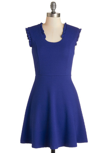 Pondside in the Park Dress - Blue, Solid, Ruffles, Trim, Work, Casual, A-line, Sleeveless, Fall, Knit, Good, Scoop