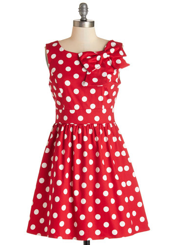 The Pennsylvania Polka Dress in Ruby Dots - Red, White, Polka Dots, Bows, Casual, Vintage Inspired, 50s, Americana, A-line, Sleeveless, Woven, Good, Scoop, Cotton, Variation, Full-Size Run, Mid-length
