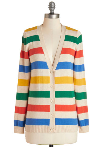 Rainbow with the Flow Cardigan - Cotton, Knit, Multi, Stripes, Buttons, Casual, Long Sleeve, V Neck, Multi, Long Sleeve