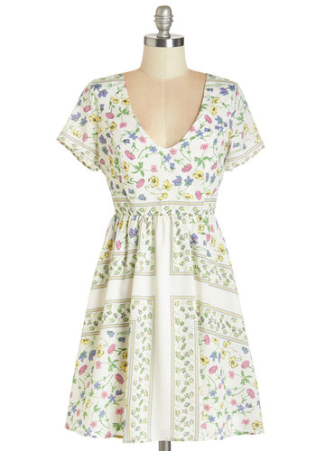 Graceful Vignettes Dress - Multi, Floral, Casual, Sundress, Short Sleeves, Summer, Woven, Better, V Neck, Mid-length, A-line