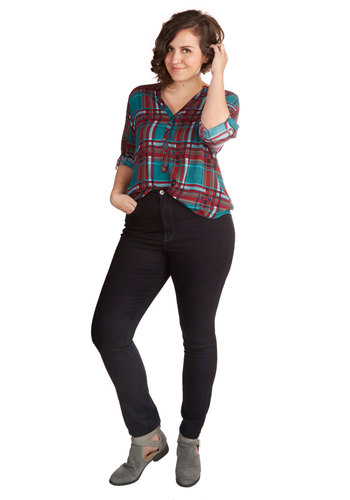 Everyday Admirable Jeans in Plus Size - Denim, Blue, Solid, Pockets, Casual, Skinny, Basic, Work