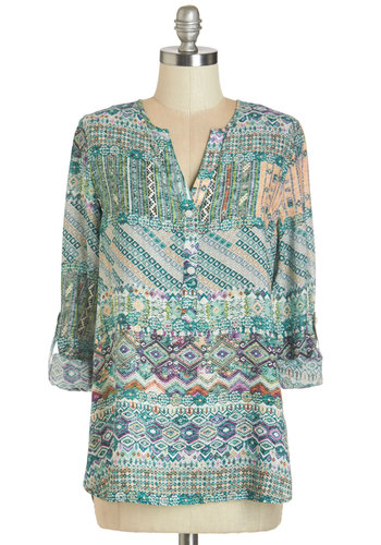 Practice What you Beach Top - Woven, Blue, Multi, Print, Buttons, Casual, Beach/Resort, 3/4 Sleeve, Multi, Tab Sleeve