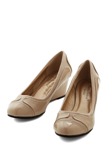 Simple Strut Wedge - Mid, Tan, Solid, Wedding, Work, Daytime Party, Good, Wedge