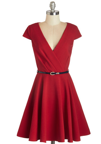 Afternoon Aperitifs Dress by Closet - Solid, Exposed zipper, Pockets, Belted, Daytime Party, Nautical, Americana, Fit & Flare, Cap Sleeves, Knit, Better, V Neck, Mid-length, Red, Party