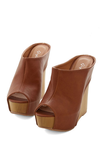 Significant Spirit Wedge - High, Brown, Solid, Daytime Party, Boho, Festival, Good, Platform, Wedge, Peep Toe, Vintage Inspired, 70s