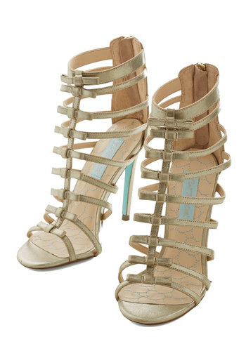 Betsey Johnson Next Level Lovely Heel by Betsey Johnson - High, Gold, Solid, Bows, Prom, Wedding, Party, Girls Night Out, Bridesmaid, Luxe, Best, Strappy