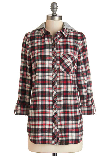 Layer Up Top - Multi, Long Sleeve, Multi, Red, Black, White, Plaid, Buttons, Pockets, Casual, Rustic, Hoodie, 3/4 Sleeve, Collared, Fall