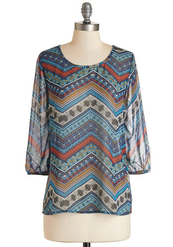 Aim Hi-Fi Top - Multi, Print, Chevron, Work, 3/4 Sleeve, Scoop, Multi, 3/4 Sleeve