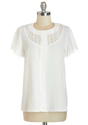 Garden Breakfast Top - White, Solid, Exposed zipper, Lace, Work, Daytime Party, Short Sleeves, White, Short Sleeve