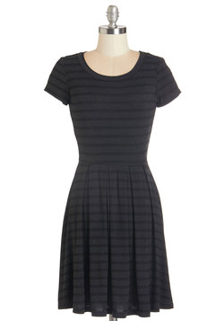 Today We Stripe Dress in Charcoal