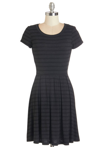 Today We Stripe Dress in Charcoal - Black, Grey, Stripes, Casual, Nifty Nerd, A-line, Short Sleeves, Fall, Knit, Good, Scoop, Jersey, Pleats