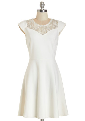 Comings and Outgoings Dress - White, Solid, Lace, A-line, Cap Sleeves, Knit, Good, Scoop, Daytime Party, Wedding, Bride