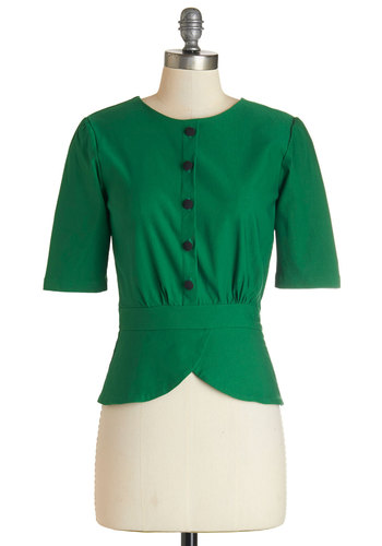 Slate In the Day Top in Emerald - Green, Short Sleeve, Woven, Green, Solid, Buttons, Work, Vintage Inspired, 40s, 50s, Short Sleeves, Exclusives, Variation