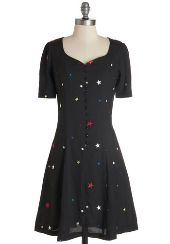Hit the Right Note Dress in Stars by Nishe - Multi, International Designer, Novelty Print, Buttons, Casual, Americana, A-line, Short Sleeves, Woven, Better, Scoop, Variation