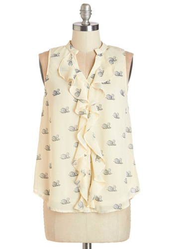 Swan Voyage Top - Woven, Cream, Black, Print with Animals, Ruffles, Work, Daytime Party, Sleeveless, Bird, Woodland Creature, Mid-length, White, Sleeveless
