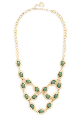 Flash of Fancy Necklace - Green, Solid, Chain, Cocktail, Girls Night Out, Statement, Gold