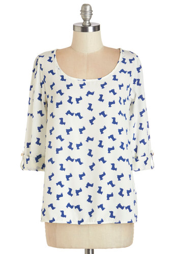 Daily Lunch Date Top in Corgis - White, Blue, Print with Animals, 3/4 Sleeve, Woven, Casual, Critters, Variation, Scoop, Dog, White, Tab Sleeve