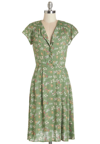 Dance Florist Dress - Multi, Woven, Green, Floral, Buttons, Casual, Vintage Inspired, 40s, 50s, Short Sleeves, V Neck, Spring