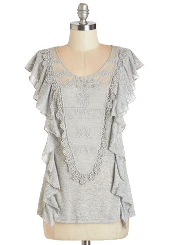 In the Archives Top - Grey, Short Sleeve, Knit, Solid, Lace, Ruffles, Sleeveless, Scoop