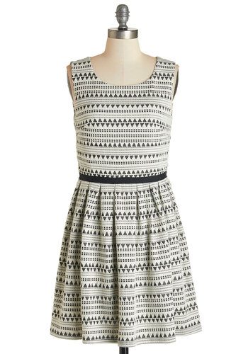 Spontaneous Slow Dance Dress - Black, White, Print, Casual, A-line, Sleeveless, Fall, Knit, Better, Scoop, Exposed zipper, Full-Size Run