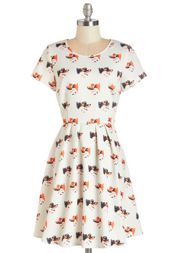 What's the Catch? Dress - White, Print with Animals, Casual, Critters, A-line, Short Sleeves, Knit, Good, Scoop, Orange, Quirky