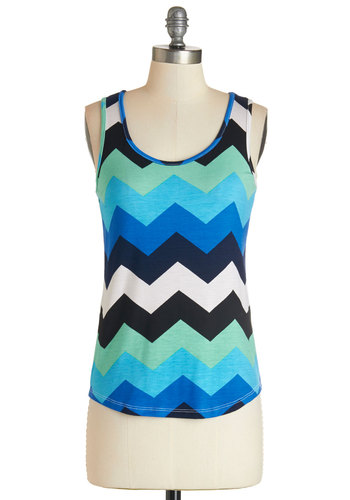 Oceanfront and Center Top - Multi, Blue, Black, White, Chevron, Casual, Tank top (2 thick straps), Summer, Scoop, Multi, Sleeveless