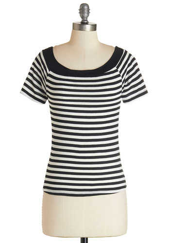 Apple Picking Afternoon Top - Black/White, Short Sleeve, Knit, Black, White, Stripes, Short Sleeves, Scoop, Short