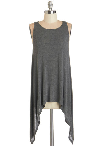 Out of the Box Office Top in Smoke - Knit, Grey, Solid, Handkerchief, Casual, Minimal, Tank top (2 thick straps), Variation, Basic, Scoop, Grey, Sleeveless