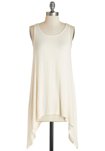 Out of the Box Office Top in Cream - Knit, Cream, Solid, Handkerchief, Casual, Tank top (2 thick straps), Variation, Basic, Scoop, White, Sleeveless