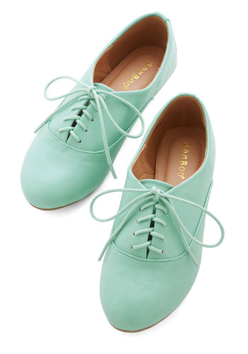 Everyday Adorable Flat in Mint - Flat, Faux Leather, Mint, Solid, Casual, Good, Lace Up, Pastel, Top Rated
