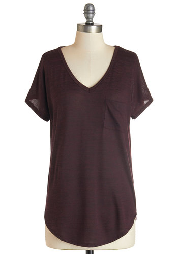 Dreamy Day Off Top in Wine - Knit, Red, Solid, Pockets, Casual, Minimal, Short Sleeves, Variation, Basic, V Neck