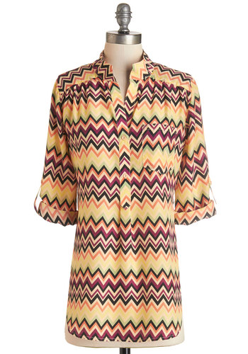 Where It's Mat Top in Chevron - Long, Multi, Chevron, Buttons, Pockets, Casual, 3/4 Sleeve, Variation