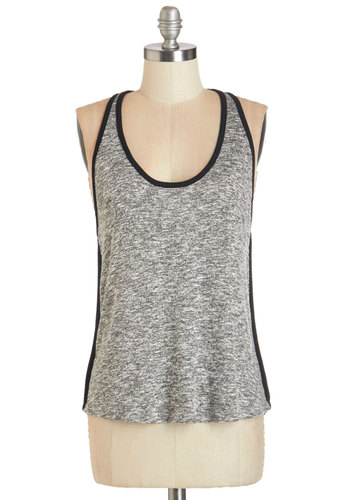 Think of Me Top - Knit, Grey, Black, Trim, Casual, Racerback, Scoop, Grey, Sleeveless