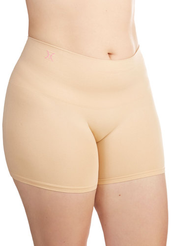 Sultry Silhouette Contouring Shorts in Beige - Plus Size - Knit, Cream, Solid, Basic