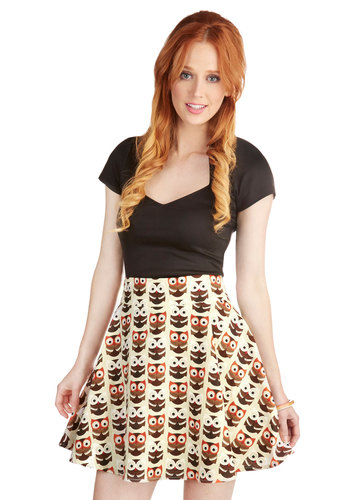 Aviary Afternoon Skirt - A-line, Fall, Good, Tan, Casual, Brown, Cotton, Print with Animals, Owls, Critters, Woodland Creature, Short