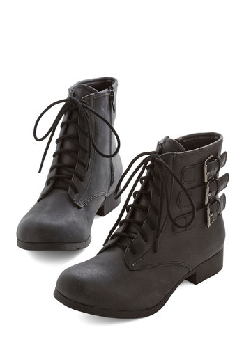 I Feel City Boot - Faux Leather, Black, Solid, Buckles, Military, Good, Lace Up, Casual, Urban