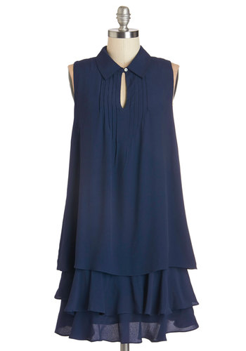 Cascade in the Shade Dress - Blue, Solid, Tiered, Casual, Tent / Trapeze, Sleeveless, Summer, Woven, Good, Collared