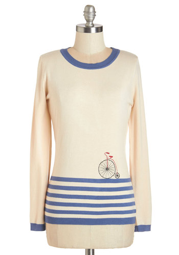 On Rotation Sweater - White, Long Sleeve, Knit, Cream, Blue, Stripes, Novelty Print, Casual, French / Victorian, Long Sleeve