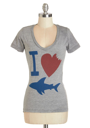 Oh, What a Bite Tee - Knit, Grey, Red, Blue, Print with Animals, Novelty Print, Casual, Short Sleeves, Scoop, Nautical, Grey, Short Sleeve