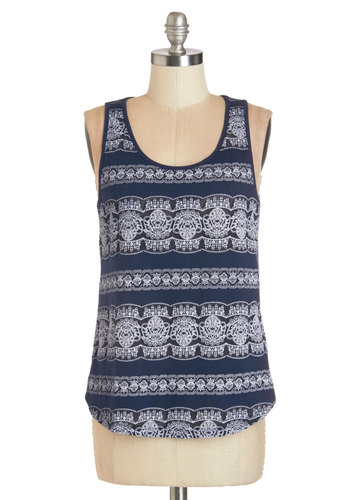 Lacy Evenings Top - Sheer, Knit, Lace, Blue, White, Print, Casual, Tank top (2 thick straps), Scoop, Blue, Sleeveless, Top Rated