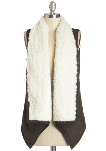 That's S'more Like It Vest by Jack by BB Dakota - Good, Brown, Faux Leather, Faux Fur, Brown, White, Casual, Rustic, Sleeveless, Fall