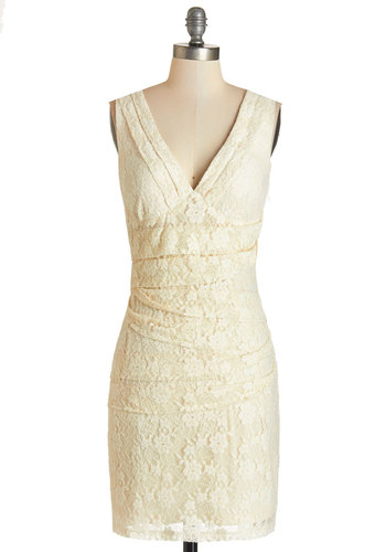 Filling the Flutes Dress - Cream, Solid, Lace, Party, Girls Night Out, Sleeveless, Knit, Better, V Neck, Lace, Ruching, Wedding, Bride, Sheath