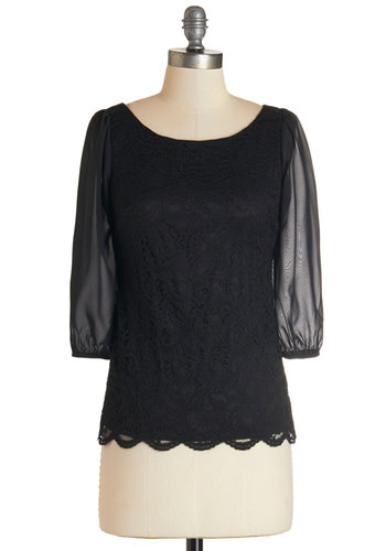 You Fancy Thing Top - Woven, Lace, Black, Solid, Lace, Scallops, Party, Work, 3/4 Sleeve, Scoop, Black, 3/4 Sleeve
