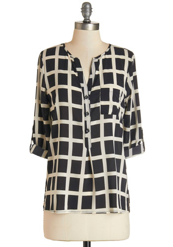 Save the Best for Lattice Top - Sheer, Woven, Black, White, Print, Buttons, Pockets, Work, Casual, 3/4 Sleeve, Black, Tab Sleeve