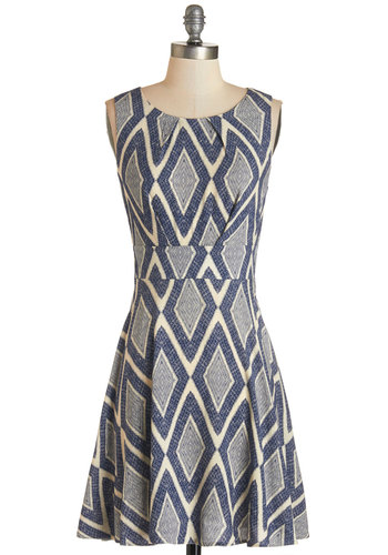 Name of the Game Night Dress in Diamonds - Blue, Woven, Print, Casual, A-line, Sleeveless, Good, Scoop, Tan / Cream, Variation, Mid-length