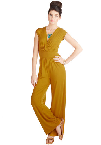 Go Ahead and Jumpsuit - Fall, Better, Full length, Yellow, Jumpsuit, Knit, Yellow, Solid, Casual, Cap Sleeves, V Neck