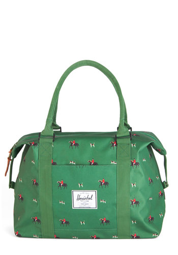 Lost in Trot Overnight Bag by Herschel Supply Co. - White, Print with Animals, Casual, Critters, Green, Travel, Dog, Fall