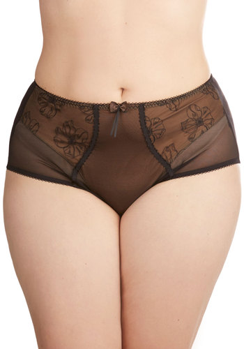 Bronze Goddess Undies in Plus Size - Sheer, Knit, Bronze, Black, Floral, Bows, Boudoir